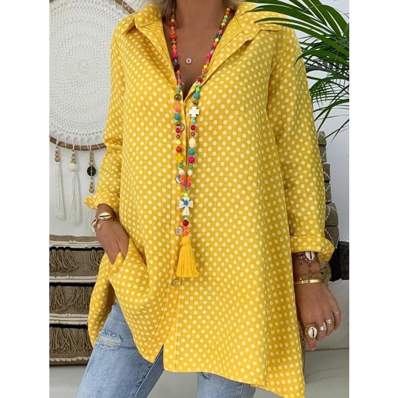 Женская Длинная блузка в горошек Boho, летняя Свободная блузка с длинным рукавом, Повседневная Блузка, топ, Blusas Mujer de Moda, 2019