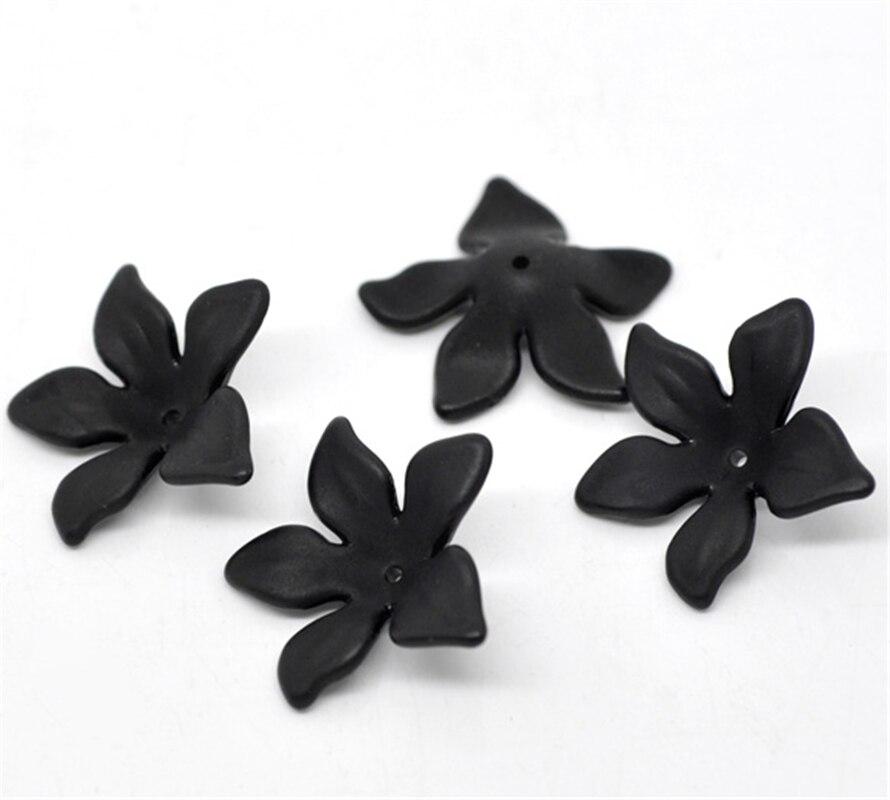 DoreenBeads 80 Uds negro cuentas de acrílico esmerilado 28x7mm (B14821) yiwu