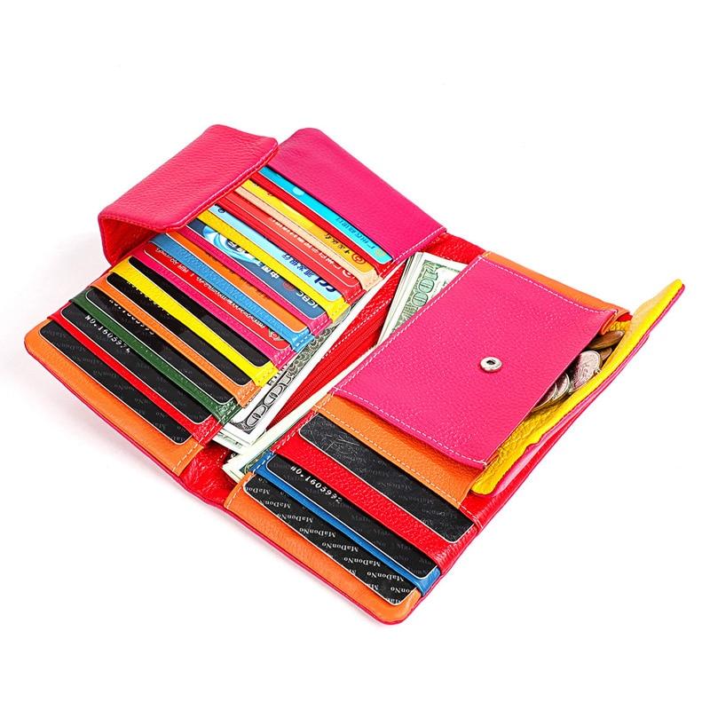 محفظة جلدية أصلية مع سحاب للنساء ، حقيبة يد ، ملونة ، غير رسمية ، حامل بطاقات