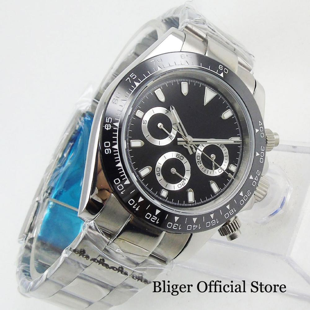 Fashional Causal 39mm Automatic Men's Watch Glass Black Dial Stainless Steel Bracelet Auto Movement Polished Case