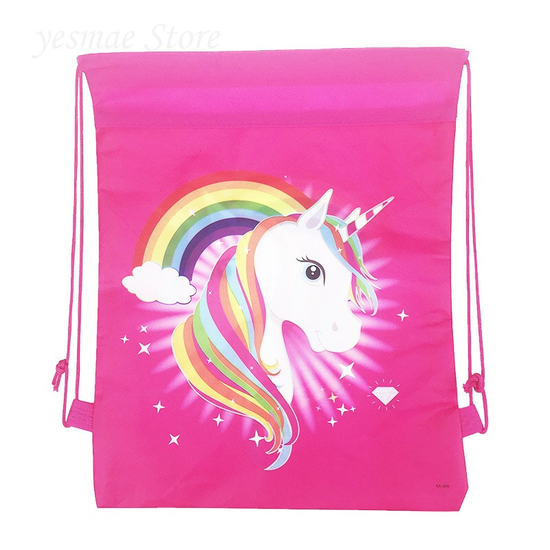 2 uds, nueva mochila de niño nunicorn con dibujos animados, bolsas de regalo, mochila de tela no tejida, bolsa de viaje escolar, suministros para fiestas, bolsa con cordón