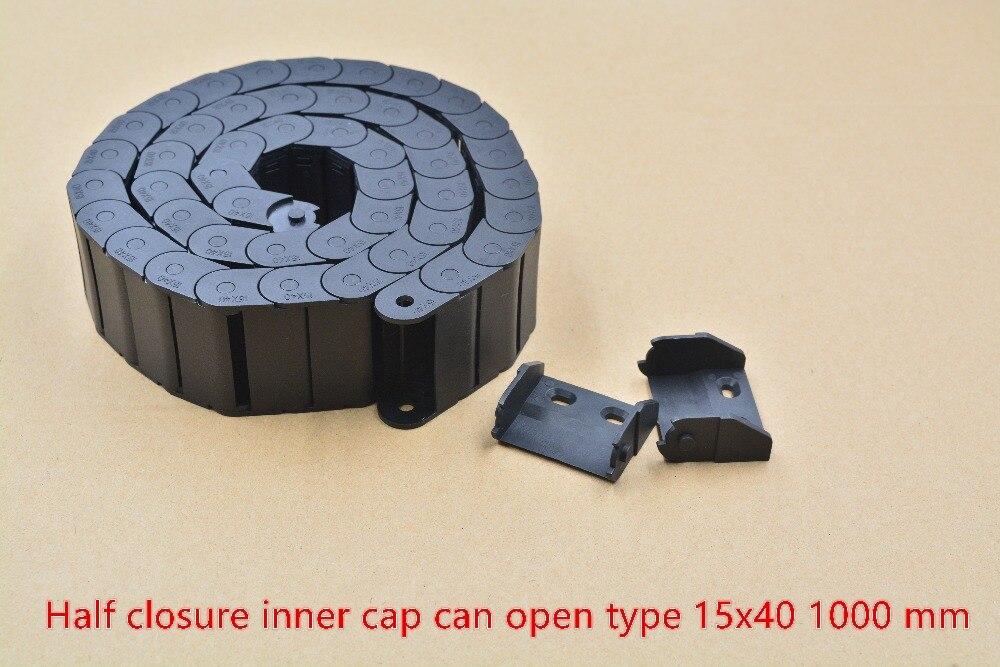 1 piezas MITAD DE CIERRE interior puede abrir cadena de arrastre de 15mm x 40mm, cadena de arrastre con conectores L 1000mm máquina de grabado máquina de cable