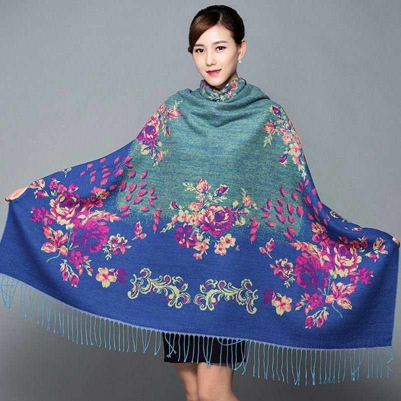 Suave diseño nacional mujer Pashmina Cachemira Jacquard grande Squar chal bufanda abrigo de gran tamaño grueso Manta