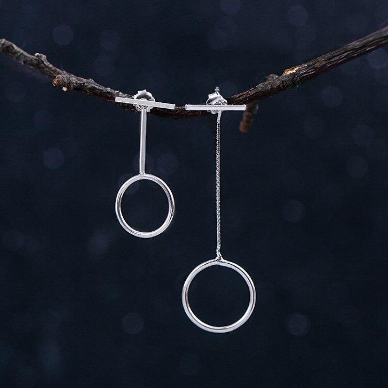 Pendientes de plata de ley 925 de Flyleaf, pendientes largos de borlas redondos asimétricos para mujer, joyería de plata de ley para mujer