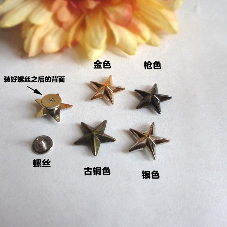 DIY ropa de cuero artesanal, cinco puntas Estrella de Plata bronce dorado, remache y pernos, accesorios de tornillo, 50 set/lote