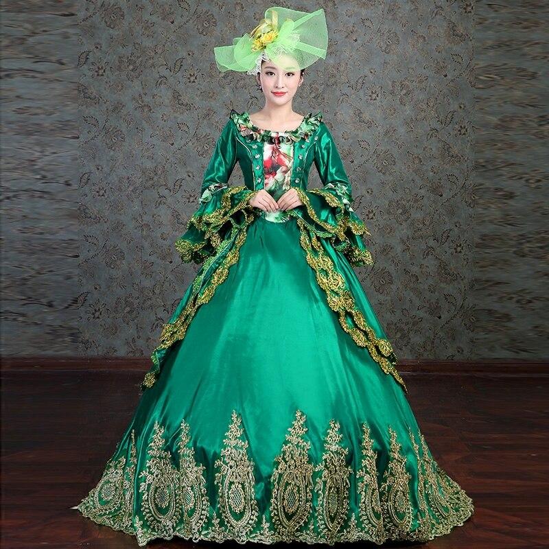 Personnalisé 2018 plus récent vert carré col à manches longues Flare Marin Antoinette princesse robe rétro or Appliques robes de bal