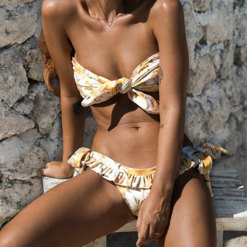 Bikini Sexy 2019 Mujer tubo Top nudo Micro Bikini Push Up Ruffle traje de baño separado mayo mujeres vendaje traje de baño para nadar traje