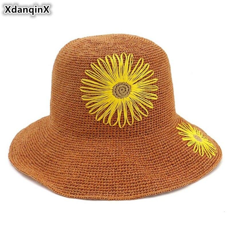 XdanqinX Elegant Lady Straw Hat Extra-fine Hand Crocheted Sun Hats Foldable Adult Women's Beach Hat Flower Decoration Female Cap