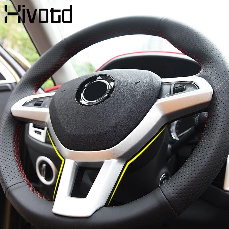 Hivotd para Skoda Kodiaq coche embellecedor para volante lentejuelas cromo estilo decoración Interior molduras accesorios 2017-19