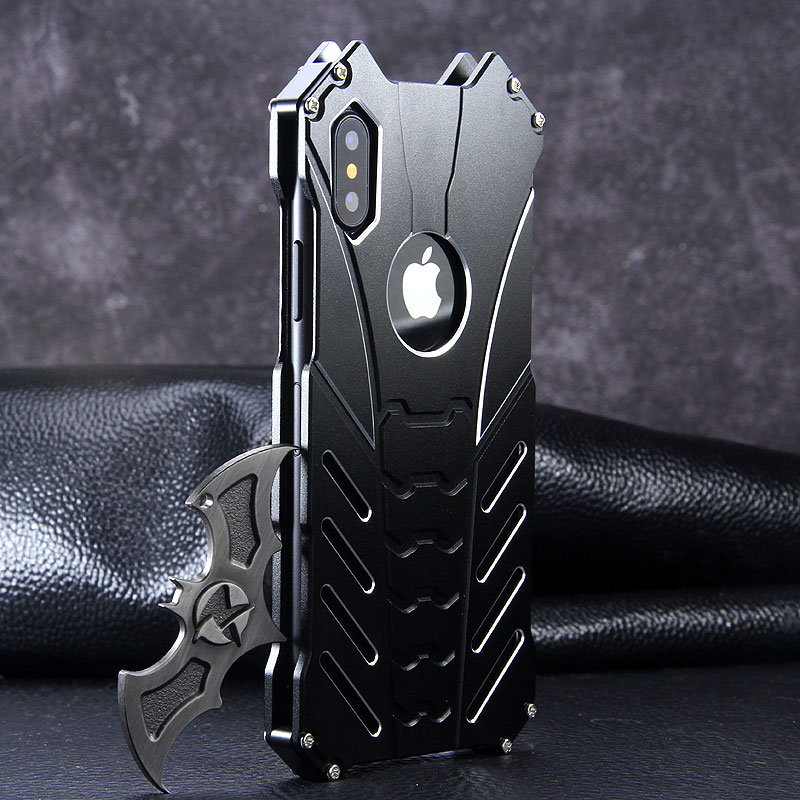 Para IPhone 11 PRO X XR XS MAX 5 se 6 6S 7 8 Plus funda de lujo de Metal de aluminio Batman marco armadura protectora a prueba de golpes funda