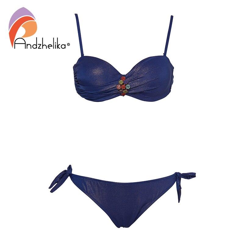 Andzhelika Sexy Bikinis Women Solid Diamond Swimsuit Push Up Bikini Set Brazilian Bathing Suit 2019 Summer Beach Swimwear