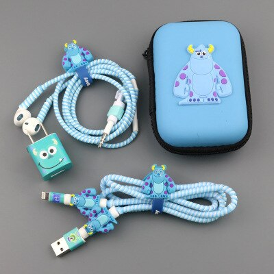 Tres en un cable USB con dibujos animados auricular Protector de cables de auriculares para teléfono móvil de línea de carga de protección para cable de datos