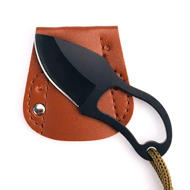 Faca de sobrevivência portátil para acampamento ao ar livre mini edc multi função facas de auto-defesa com capa de couro ferramentas manuais multitools