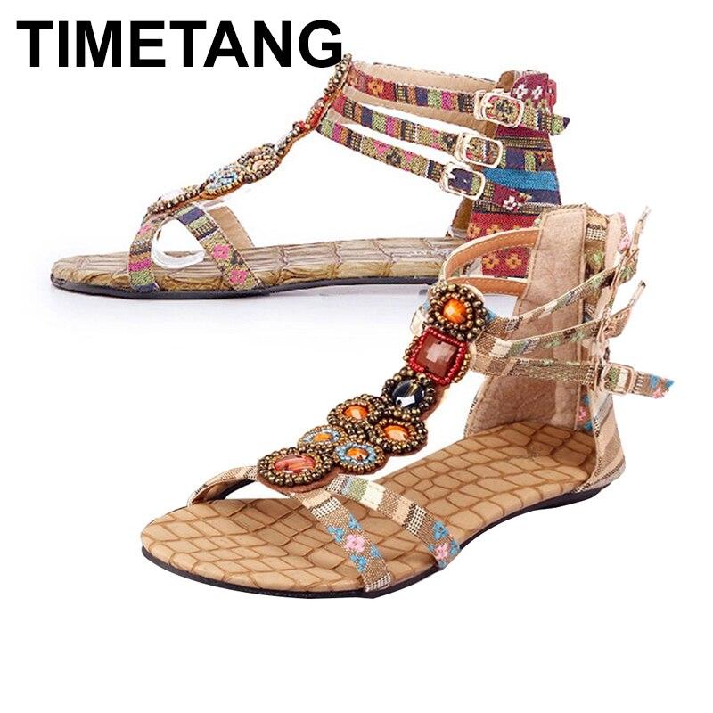 TIMETANG 2019 New Arrivals Hot New Women Summer Bohemian Style Zipper Flats Shoes Beading Casual Open Toe SandalsE461