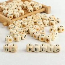 100 개/몫 정사각형 나무 알파벳 문자 번호 DIY 비즈 아기 부드러운 Teether 보석 만들기 액세서리