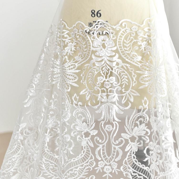 Tela de encaje de malla bordado de lentejuelas de estilo europeo hecho a mano de boda Material de decoración de ropa de tela DIY
