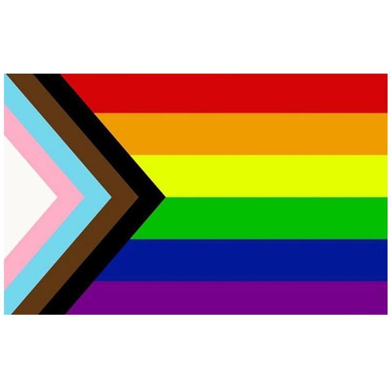 free  shipping Aerlxemrbrae  Rainbow Flag 150X90CM Banner 100D Polyester grommets  lgbt Gay rainbow Progress Pride flag