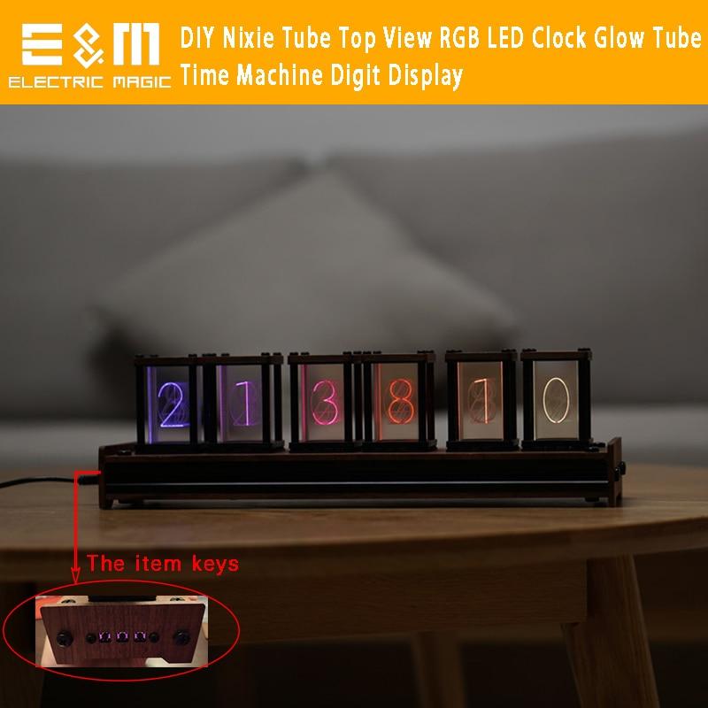 Reloj LED RGB con vista superior de tubo Nixie a todo Color con letra de canal DIY, pantalla de 5V de tubo brillante de 5 niveles soporte USB WIN 7 8 10 Mac