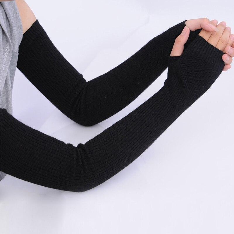Outono inverno feminino cashmere lã luvas de malha quente macio preto feminino longo fingerless luvas 40cm 50cm 60cm braço aquecedores manga