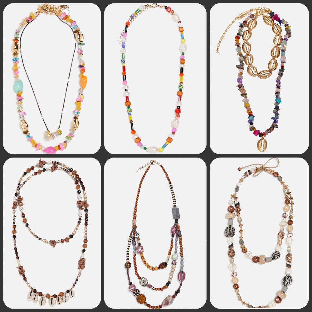 Miwens 26 색 zA 디자인 비즈 쉘 쵸커 목걸이 여성용 Boho Conch Statement Necklaces 우아한 맥시 체인 쥬얼리