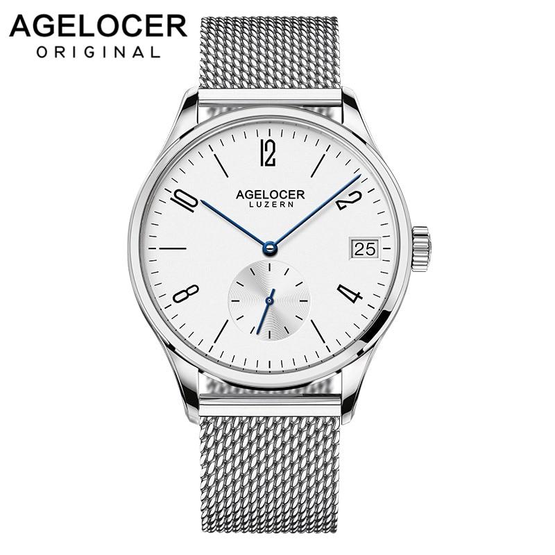 Swiszerland AGELOCER-ساعة رجالية أوتوماتيكية بسوار جلدي شبكي ، ساعة رجالية بسيطة