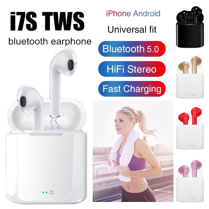 I7s TWS Drahtlose Kopfhörer Bluetooth Kopfhörer In-ohr Stereo Ohrhörer Headset Mit Lade Box Für iPhone Xiaomi huaweiTSLM1