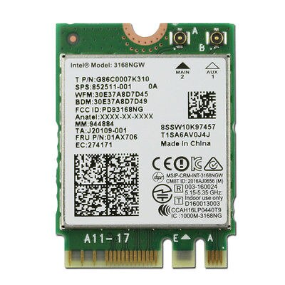 Tarjeta adaptadora inalámbrica Intel AC 3168NGW 3168 inalámbrica de banda Dual wifi Bluetooth 4,2 M2 tarjeta lenovo thinkpad 01ax706