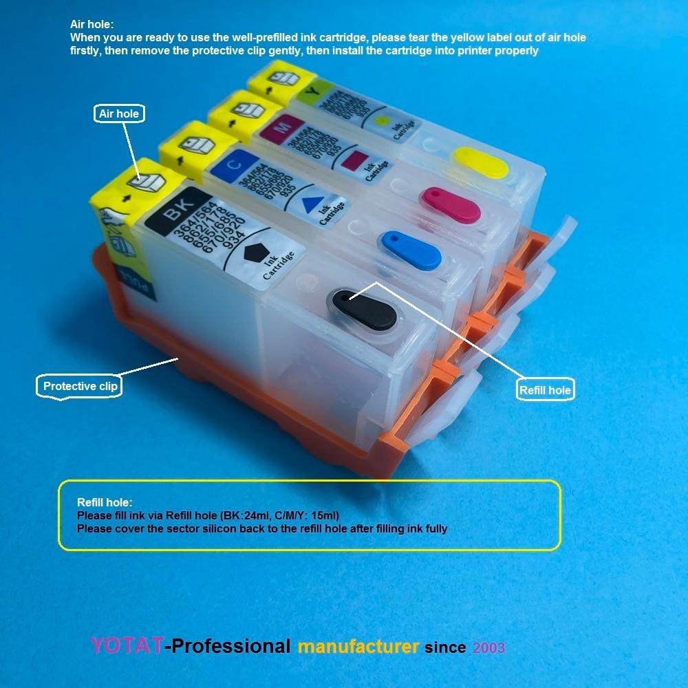 Yotat cartucho de tinta recarregável para hp364 hp 364 xl para hp photosmart 5510/5515/6510/5514/5515/7510/7520/6520/6525/5520/5522/5525///