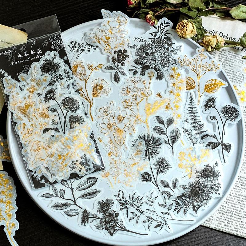 60-fogli-pacco-diario-decorativo-vintage-diario-teschio-d'oro-carta-fiore-pianta-adesivi-scrapbooking-fiocchi-di-cancelleria