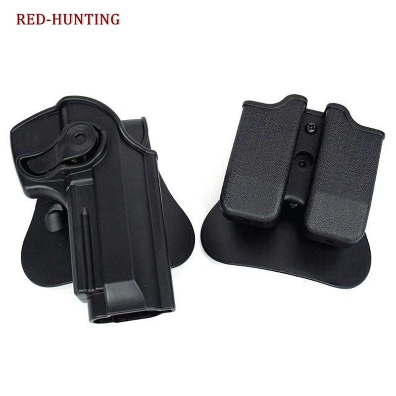 IMI Style Defense RetentionTactical Gun Holster for Taurus PT92 M92 M9 Handguns With Magazine Pouch CQC Style M9 Belt Holster