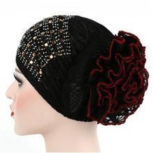 Chapeau Turban en dentelle florale pour femmes   Bonnet indien avec filet à cheveux en diamant, casquette de Chemo musulmane, Bonnet à fleurs pour femmes 2017