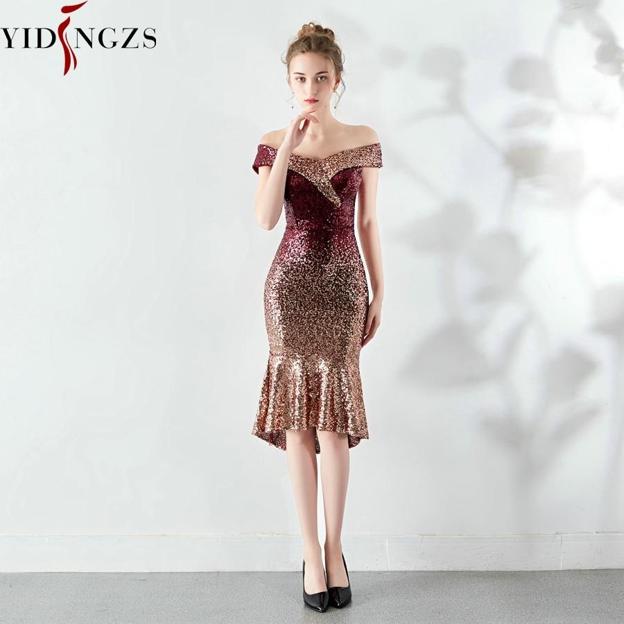 فستان سهرة نسائي جديد من ماركة YIDINGZS, فستان سهرة أنيق قصير من الترتر بطول الركبة ، فستان حفلات لامع مناسب للحفلات ، طراز YD16181