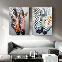 Toile de peinture nordique avec zebre  peinture murale coloree imprimee  decor de maison  chambre a coucher  minimaliste  doux