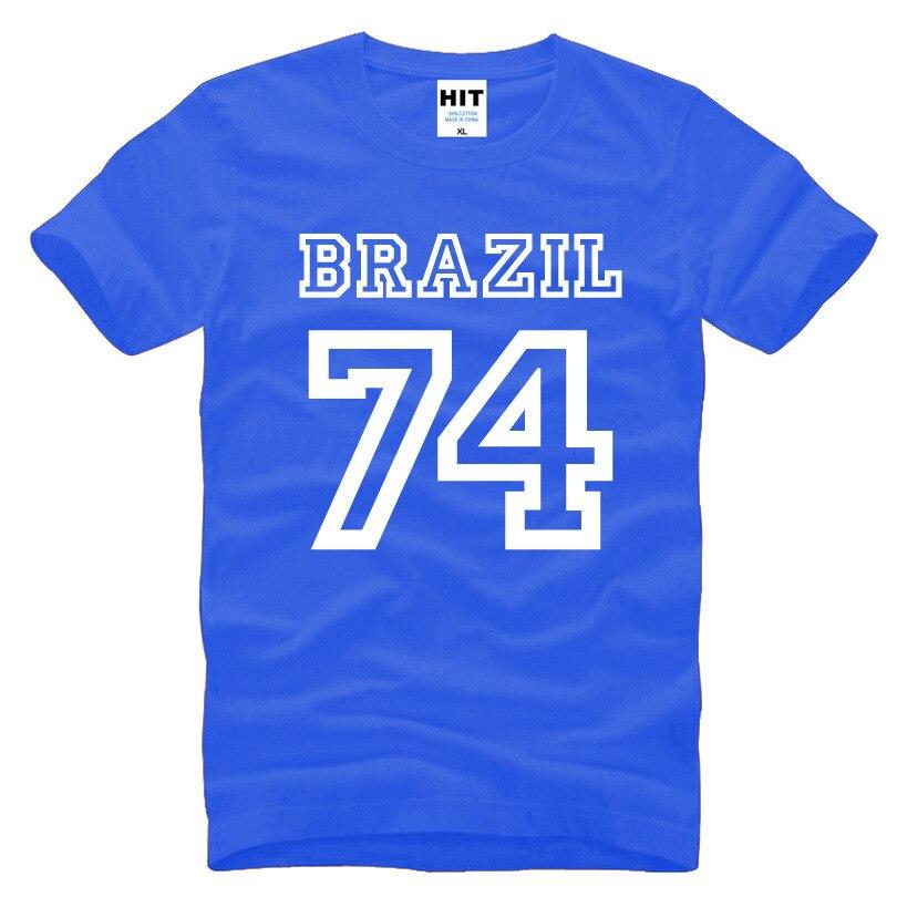 Brasil 74 letras creativo impreso hombres camiseta moda 2018 nuevo manga corta cuello redondo Camiseta de algodón camisetas Hom