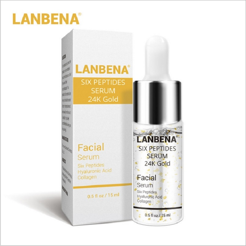 5/10/50 Uds LANBENA 24K oro seis péptidos suero crema facial antiedad antiarrugas acné hidratante de blanqueamiento tratamiento cuidado de la piel