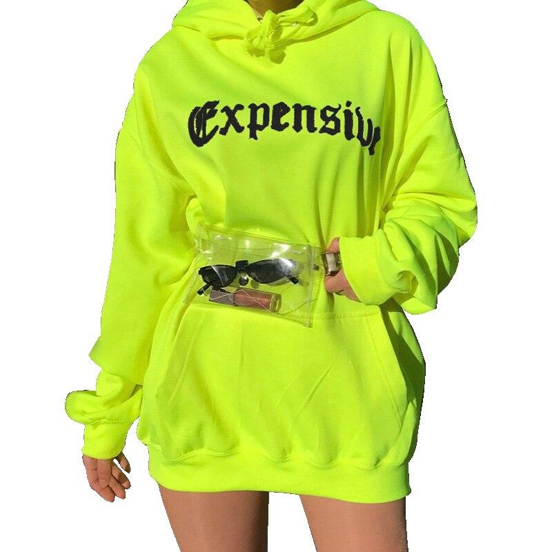 2019 Women's Autumn Winter Sweatshirt And Hoody Pop Yellow Letter Printing Long Sleeve Female Fashion Long Sweatshirt Sportswear