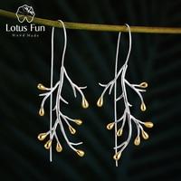 Женские серьги «дерево» Lotus Fun, изящные серьги-подвески из серебра 925 пробы