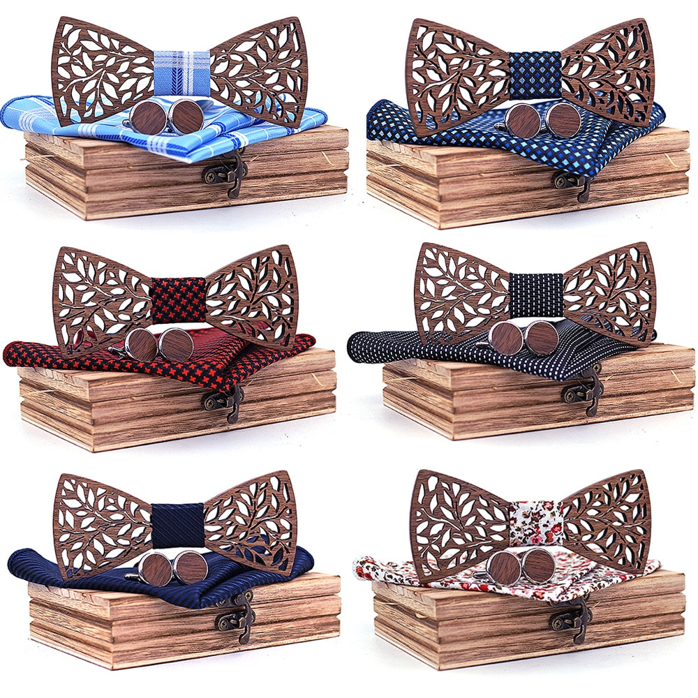 Wooden Bow Tie set and Handkerchief Bowtie Necktie Cravate Men Noeud Papillon Corbatas Hombre Pajarita Gift for men Chirstmas