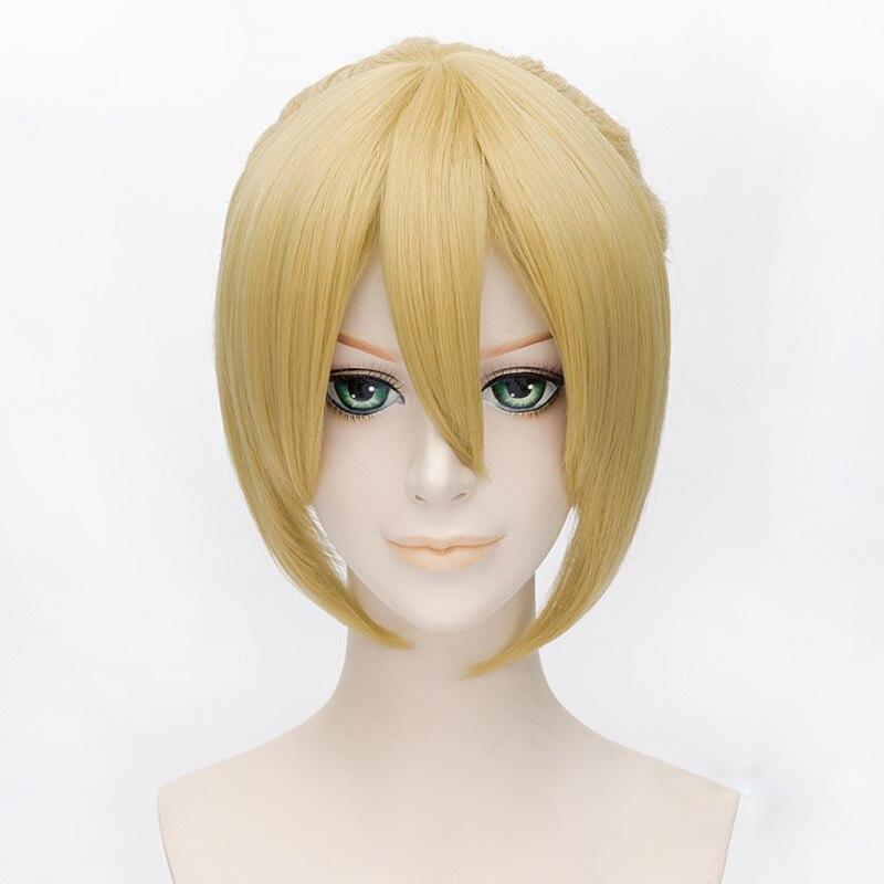 Vocaloid Kagamine Len Perucas 35 cm Curta Reta Resistente Ao Calor Perucas de Cabelo Sintético Peruca Cosplay