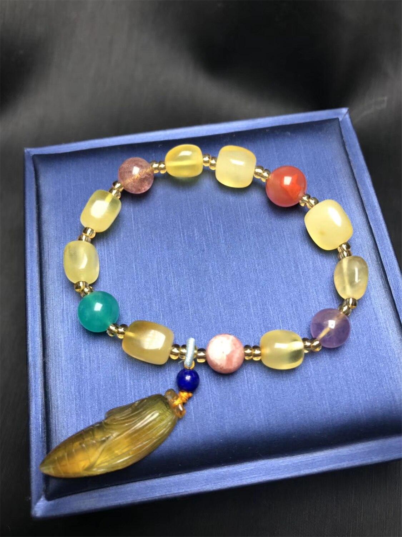 Koraba joyería fina colgante de cera de miel Natural con Mica púrpura Natural pulsera de lapislázuli de piedra Amazónica