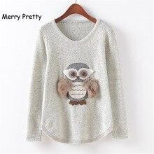 Merry Pretty Winter Fashion Women swetry wzór sowy jesień Loose Grey O Neck z długim rękawem dzianinowe swetry odzież Drop Ship