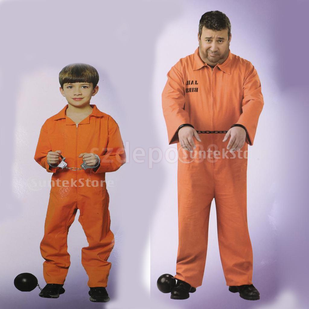 ליל כל הקדושים גברים בני כתום אסיר כולל סרבל אסיר צבי לעשות מסיבת קוספליי תחפושת תלבושות