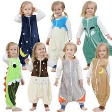 Baby Jungen Mädchen Pyjamas Frühling Und Sommer Kinder Flanell Tier Kinder Onepiece Nachtwäsche Cartoon Schlafsack Ärmellos 2-6Y