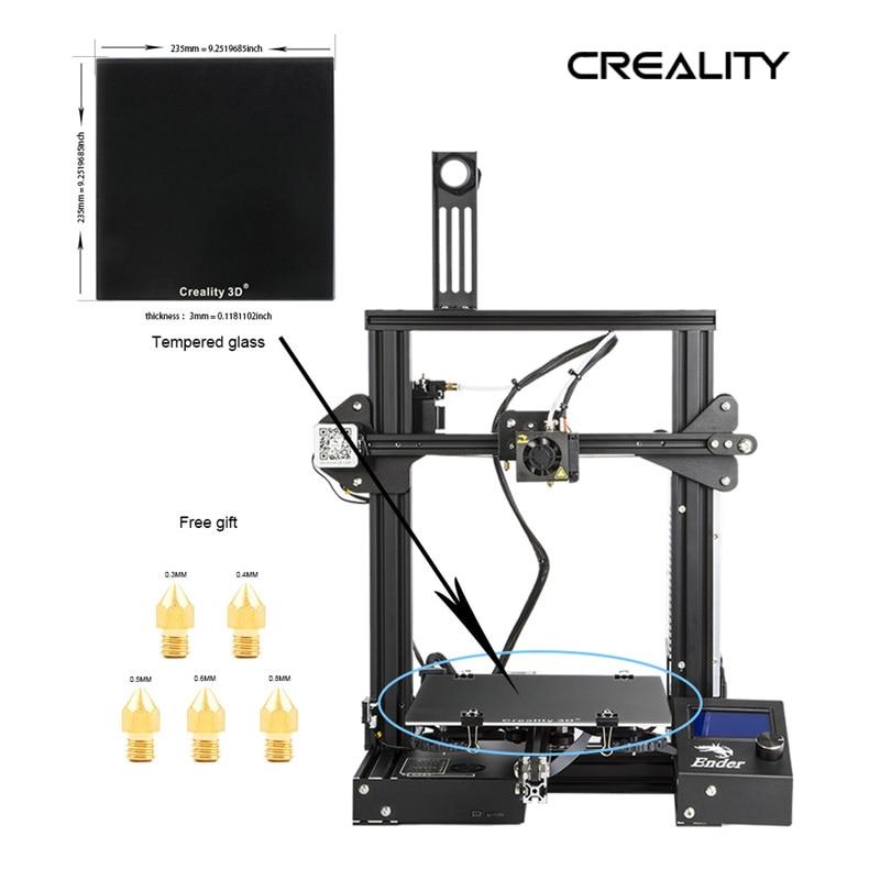 Creality 3d novo Ender-3X kit de impressora metal quadro adicionar placa de vidro com cinco bicos tamanho impressão 220*220*250mm impressora kit diy