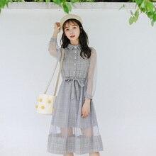 Femmes 2020 robes japonais Kawaii dame automne ajouré Transparent Plaid robe femme mignon coréen Harajuku vêtements pour les femmes