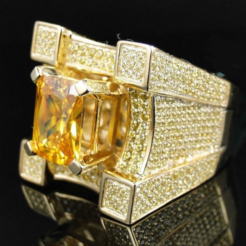 AAA Zirkonia Eis Aus Bling Breite Hüfte Hop Ringe Gold Silber Farbe Geometrische Männer Hiphop Rock CZ Ring Große kristall Schmuck Geschenk