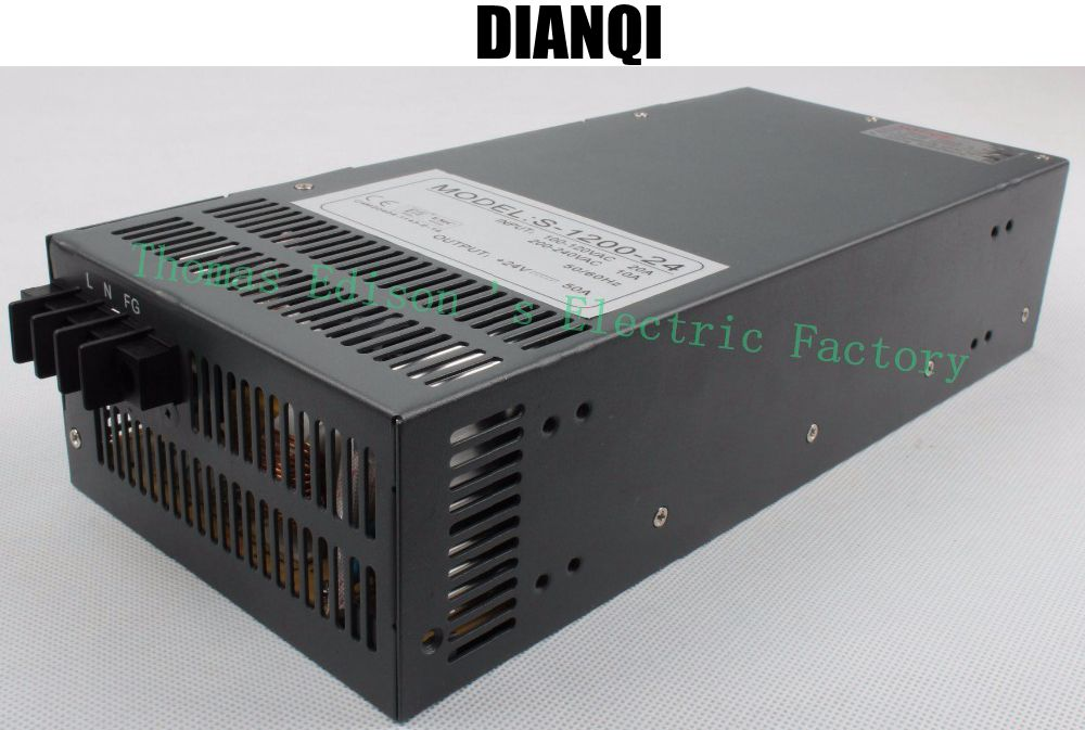 Fuente de alimentación conmutada de 1200W 24V 50 A, entrada de 110v o 220v para tira de luces LED de CA a CC fuente de alimentación de 1200w CA a CC