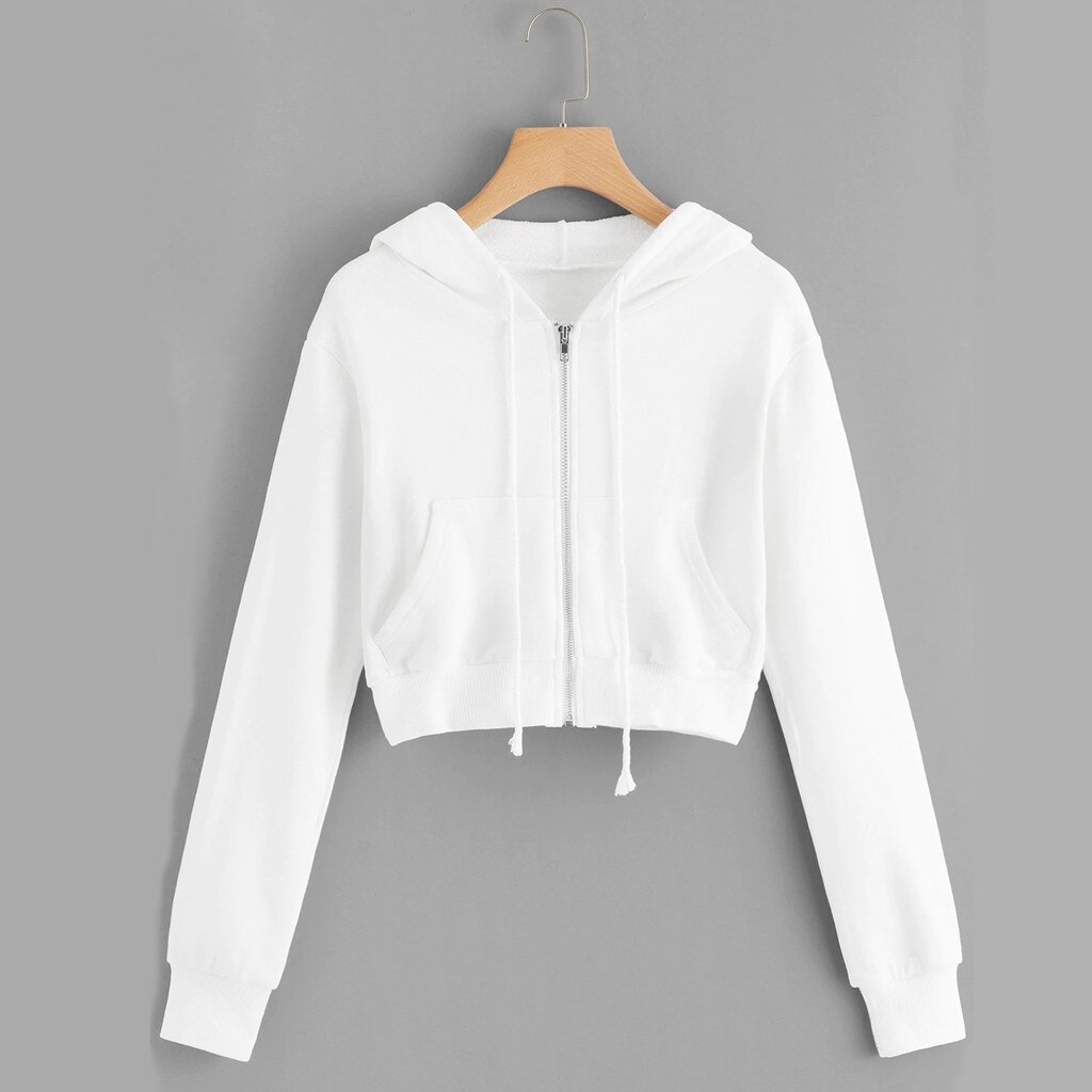 Otoño mujeres cremallera recortada superior Sweatwear Hoodies Casual sólido manga larga bolsillo camisa Sudadera con capucha tapas Zip-up abrigo Sudadera con capucha