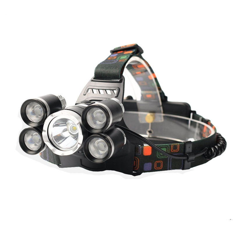 5 LED Headlamp XML T6+4Q5 Head Lamp Powerful Headlight 18650 Rechargeable Torch Fishing Hunting Light