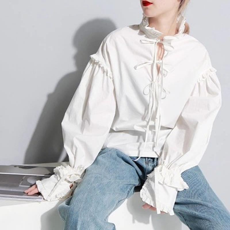2019 moda casera Retro Palacio hongo encaje lazo manga larga capa blanca camisa mujer ropa